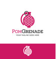 pomegranate in a grenade shape logo vector image vector image