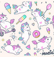 seamless pattern with cute little unicorns vector image vector image