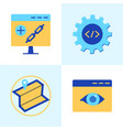 seo services icon set in flat style vector image vector image