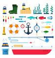 set fishing tools icons flat vector image vector image