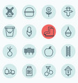 set of 16 holticulture icons includes hanger vector image