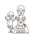 sketch contour half body super dad hero with girl vector image vector image