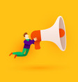small cartoon man with megaphone announcement or vector image