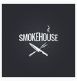 smokehouse cooking logo design background vector image vector image