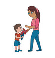 son giving flowers to his mom vector image vector image