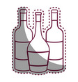 sticker line tasty wine bottles beverage icon vector image vector image