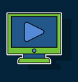 sticker workplace video player concept of webinar vector image