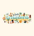 summer with cute women summer vector image