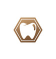 teeth care symbol in hexagon shape vector image vector image