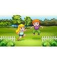Two Caucasian kids dancing vector image vector image