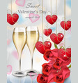 two glasses of champagne and roses bouquet vector image