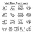 watching sport on tv sport broadcasting icon set vector image