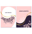 wedding invitation card with pink chamomile vector image