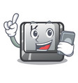 with phone button k isolated with mascot vector image vector image