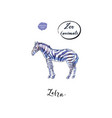 young standing zebra in watercolor vector image