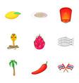 thailand food icons set cartoon style vector image