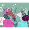 Teal Floral Background with Parrots vector image
