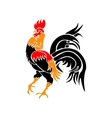 Stylized red rooster isolated on white background vector image