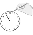 added hour on dial clock vector image vector image