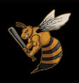 angry bee holding sticks vector image