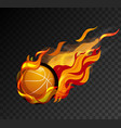Basketball with flame on black background