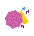 beach sun umbrella lounger slipper icon vector image vector image
