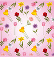 beautiful flowers frame ornament on blur vector image
