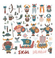 big set withmany hand drawn flat vikings faces vector image