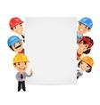 Builders Presenting Empty Vertical Banner vector image vector image