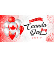 canada day flying 3d balloons and fireworks vector image