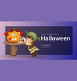 cartoon little kid preparing for all hallows eve vector image vector image