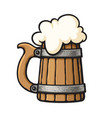 cartoon old wooden beer mug with foam design vector image vector image