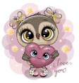 cartoon owl girl with heart on the stars vector image
