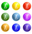 chemical glass pipette icons set vector image vector image