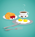 coffee with eggs and croissant vector image