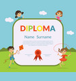 colorful diploma template for kids with place vector image vector image