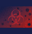 corona virus biohazard sign on red background vector image vector image
