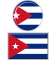 Cuban round and square icon flag vector image