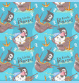 cute little pirate cat with pattern set vector image