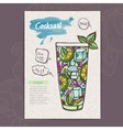 Decorative sketch of cocktail vector image vector image