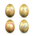 easter egg 3d icon gold eggs set lettering vector image vector image