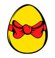 easter egg with a red bow icon icon cartoon vector image vector image