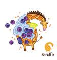 fancy waffle dessert in form a giraffe vector image