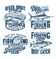 fishing and snorkeling club marine t-shirt prints vector image vector image