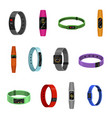 fitness bracelet set sport and training tracker vector image