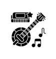 folk music black glyph icon vector image
