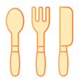 fork knife and spoon flat icon kitchen tools vector image