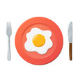 fried egg on plate with fork and knife on white vector image