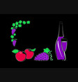fruit and a bottle of wine with a glass vector image vector image