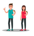 funny athletes a man and a woman after a run vector image